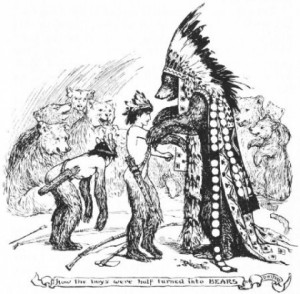 The bear chief changes the boys' arms and legs