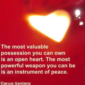 The most valuable possession you can own is an open heart. The most ...