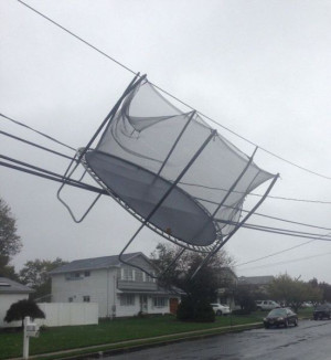 Trampoline Got Stock On Wire After Storm - Best funny, pics, humor ...