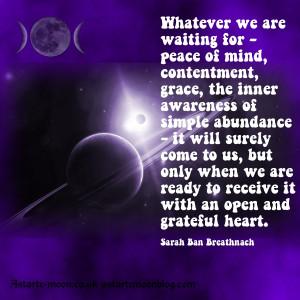 Inner awareness of simple abundance. Sarah Ban Breathnach
