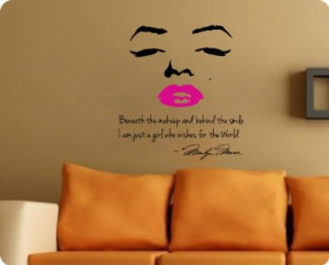 marilyn-monroe-wall-decal-decor-quote-face-pink-lips-large-nice ...