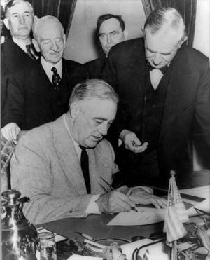 President Roosevelt Signing the Declaration of War Against Japan, 1941 ...