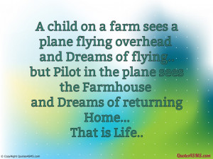 child on a farm sees a plane flying overhead...