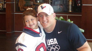 Houston Texans' player J.J. Watt poses with 6-year-old fan Breanna in ...