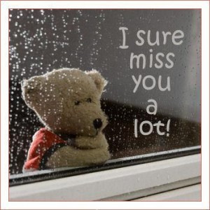Quote with a cute teddy bear saying I miss you a lot! dear.