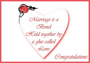 Heart shaped wedding card: Marriage is a bond held together by a glue ...