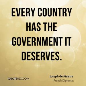 Joseph de Maistre Government Quotes