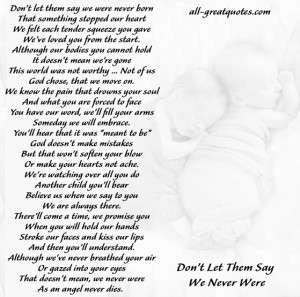 In Loving Memory Cards For Miscarriage - Don't let them say we were ...