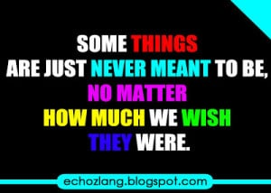 ... are just never meant to be, no matter how much we wish they were