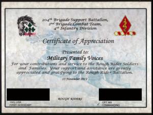 Certificate of Appreciation - 2011