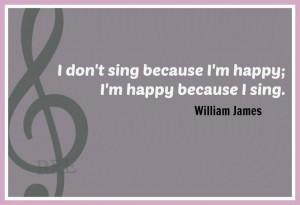 William James' quote on singing.