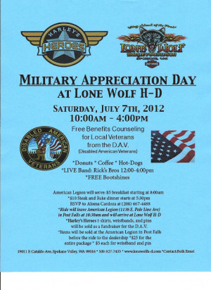 MILITARY APPRECIATION DAY - JULY 7TH - Spokane Valley, WA