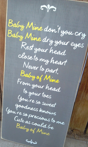 Baby Mine Dumbo Disney Nursery Song Wooden Distressed Subway Art Sign ...