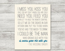 blue I wanna grow old with you wedding singer quote poster print adam ...