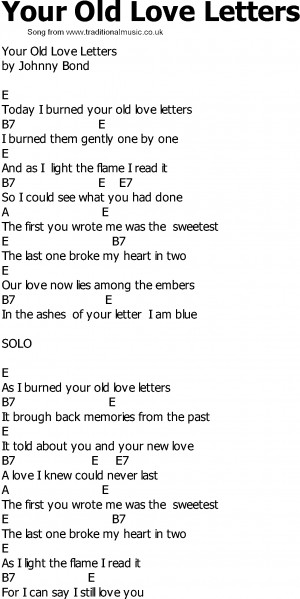 Old Country song lyrics with chords - Your Old Love Letters