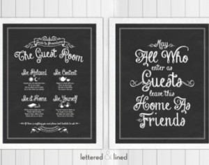 ... Guests Leave As Friends - 11x14 print - Quote, Sign, Vintage, Decor