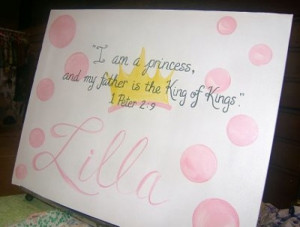 Princess Baby Girl Bible Verse Canvas Sign by dreamcustomartwork