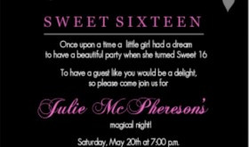 Black And Pink Flourish Sweet 16 Teen Birthday Party Invitation ...