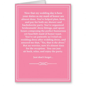 Maid of Honor Thank You Card - Funny
