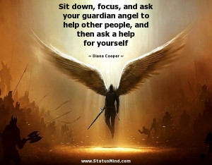Sit down, focus, and ask your guardian angel to help other people, and ...