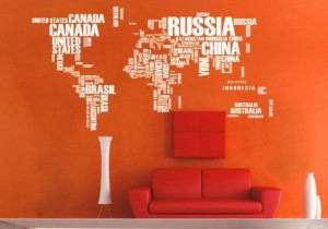 wall sticker - cheap wall sticker - World map in words Removable wall ...