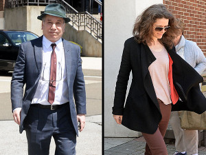 Paul Simon and Edie Brickell leave court in Norwalk, Conn., Monday