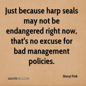 ... Now, That's No Excuse For Bad Management Policies. - Sheryl Fink