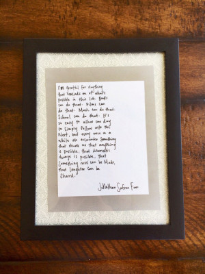 Jonathan Safran Foer Quote Print