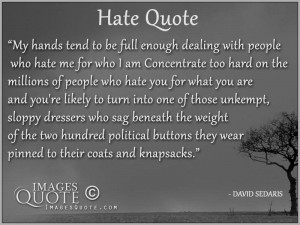 My hands tend to be full enough dealing – Hate Quote