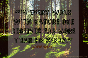 In every walk with nature one receives far more than he seeks ...