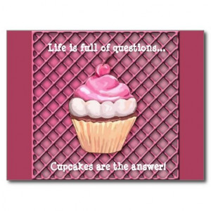Cute Pink Cupcake Quote Postcard
