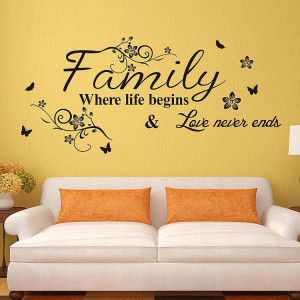 Family where the life begins wall quotes decal stickers