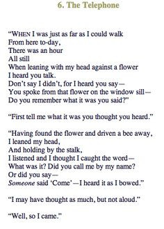 The Telephone - Robert Frost Flower represents a telephone between the ...