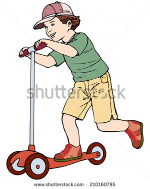 Vector illustration, kid scootering, cartoon concept, white background ...