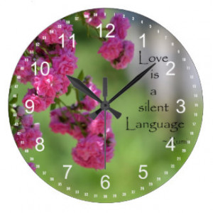 Roses with Love Quote Wall Clock