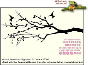 Cherry Blossom Tree Branch Vinyl Wall Decals Stickers w Hummingbird