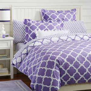 Lucky Clover Reversible Duvet Cover + Sham, Purple   PBteen: Purple ...