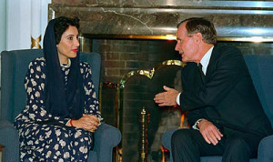 Benazir Bhutto meeting with U.S. President George H. W. Bush in Tokyo ...
