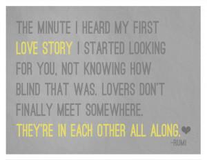Gray and Yellow LOVERS 8x10 Art Print - Rumi Quote