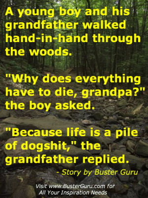 young boy and his grandfather walked hand-in-hand through the woods ...