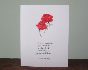 Milton Hershey rose and quote card