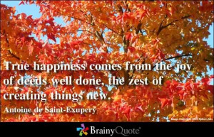 True happiness comes from the joy of deeds well done.