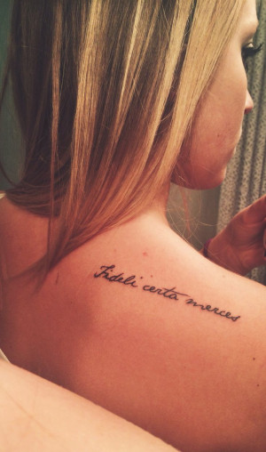 ... be endlessly rewarded. (tattoo script quote Latin shoulder tattoo