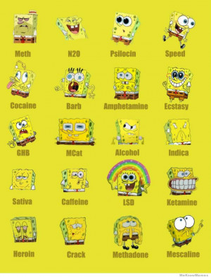Spongebob on a bunch of different drugs