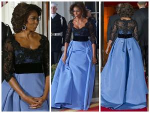 First Lady Michelle Obama Dazzles In a $12,000 Carolina Herrera Gown ...