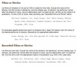 Movie in text citation apa