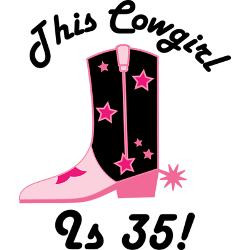 35th_birthday_cowgirl_greeting_card.jpg?height=250&width=250 ...