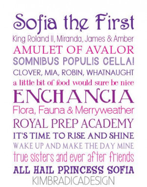 Sofia the First Movie Quote Subway Art, 11x14 Digital Print on Etsy, $ ...