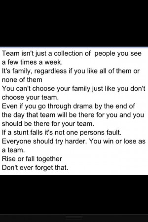 soccer quote:) A team is a team no matter what! We stick together ...