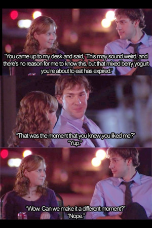 Pam and Jim from the Office. hahahaha love them! I love awkward ...